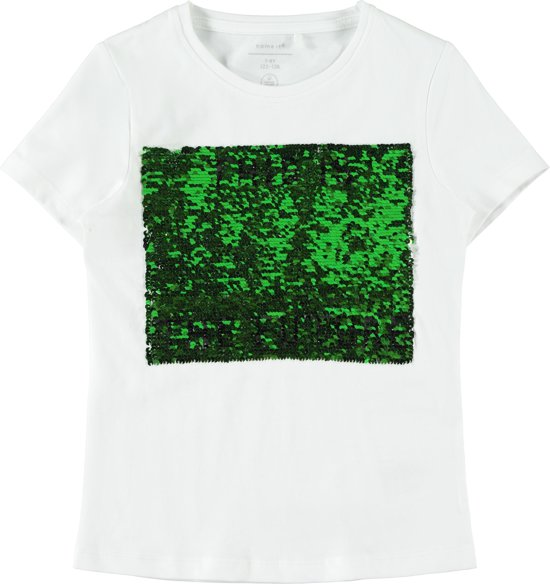 Name it Meisjes T-Shirt Korte Mouwen - Bright White - Maat 134-140