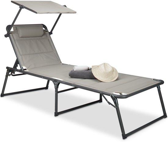 Zeer bol.com | relaxdays ligstoel gepolsterd, tuinstoel, ligbed BX41