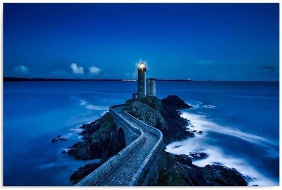 Schilderij - Vuurtoren in de nacht, blauw