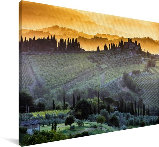Mist boven het ommuurde San Gimignano in Italië bij zonsopgang Canvas 60x40 cm - Foto print op Canvas schilderij (Wanddecoratie woonkamer / slaapkamer)