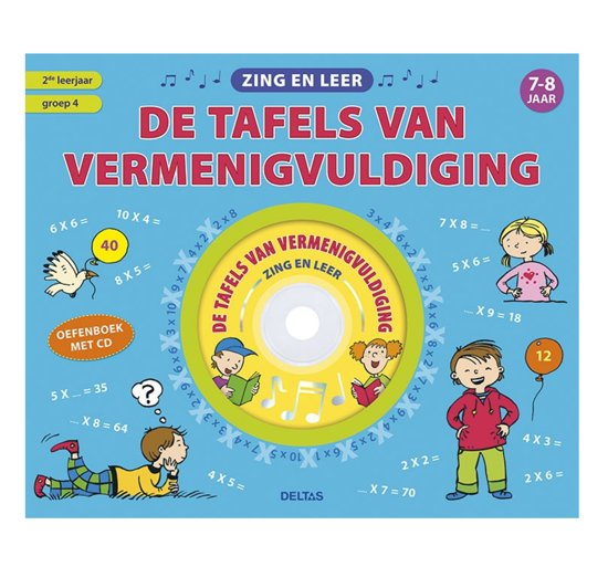 Boekomslag voor Zing en leer de tafels van vermenigvuldiging met cd