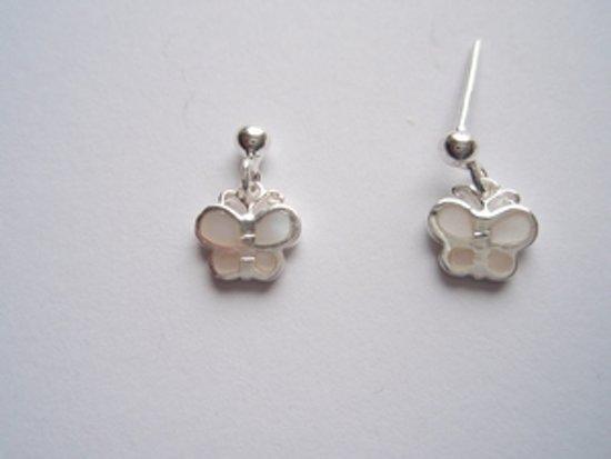 Robimex Collection Zilveren Oorhangers met vlinders van Parelmoer Creme