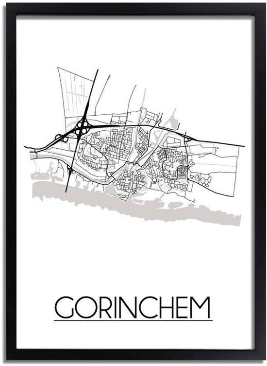 DesignClaud Gorinchem Plattegrond poster A3 + Fotolijst zwart