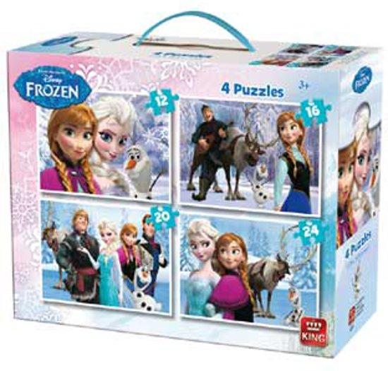 Afbeelding van Disney 4in 1 Puzzle Frozen - Vier Kinderpuzzels in een Koffertje - King speelgoed