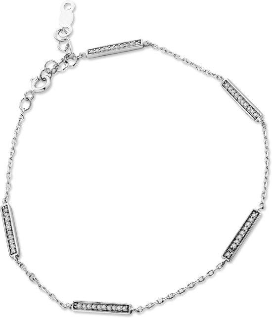Majestine armband 9 karaat (375) witgoudkleurig - bracelet -dames - diamant 0.12 ct - 17.5 cm lang