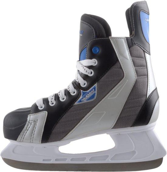 Nijdam IJshockeyschaats Polyester - Deluxe - Zwart/Grijs - Maat 41