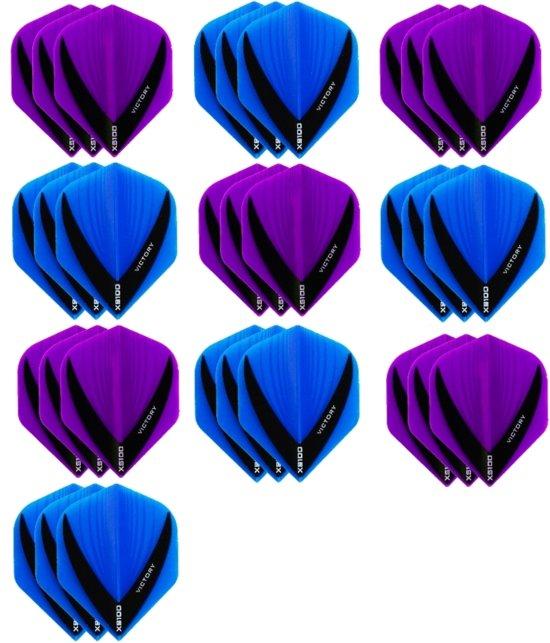 10 sets (30 stuks) - XS100 Vista flights - duo kleur pakket - Paars en Aqua/Blauw – flights - dartflights