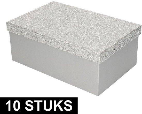 10x Zilver glitter cadeaudoosje 24 cm rechthoekig - kadodoosjes / cadeauverpakking