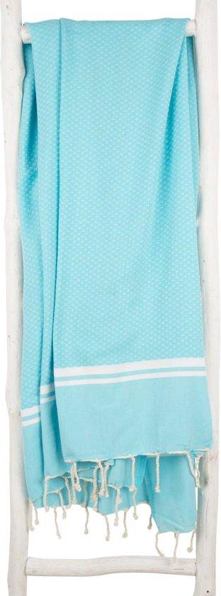 ZusenZomer Hamamdoek XL SOUSSE 190 cm fouta hamam doek strand sauna hammamdoek - aqua blauw