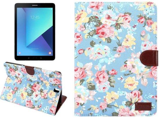 GSMWise - Samsung Galaxy Tab S3 9.7 - Bloemen Design Tablet Cover met Portemonnee en Kaarthouder - Blauw in Hellegat