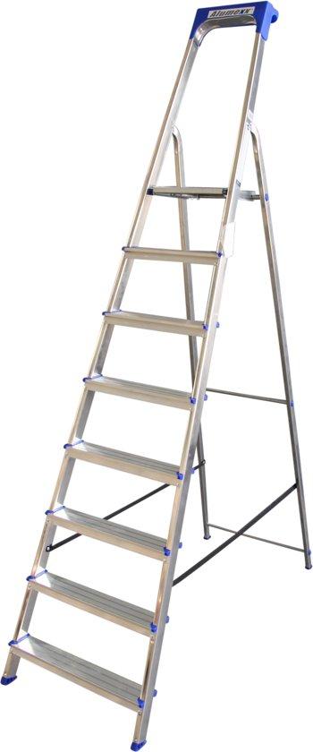 Alumexx Huishoudtrap 8 treden Anti Slip - Tot 150kg - 3.40m werkhoogte - Grijs