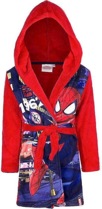 Spiderman fleece homecoming kamerjasbadjas maat 98 rood
