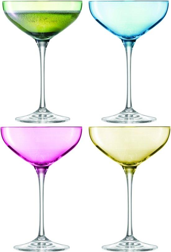 LSA Polka Champagnecoupe - Glas - 390ml - 4 Stuks - Pastel Assorti voor €11,25