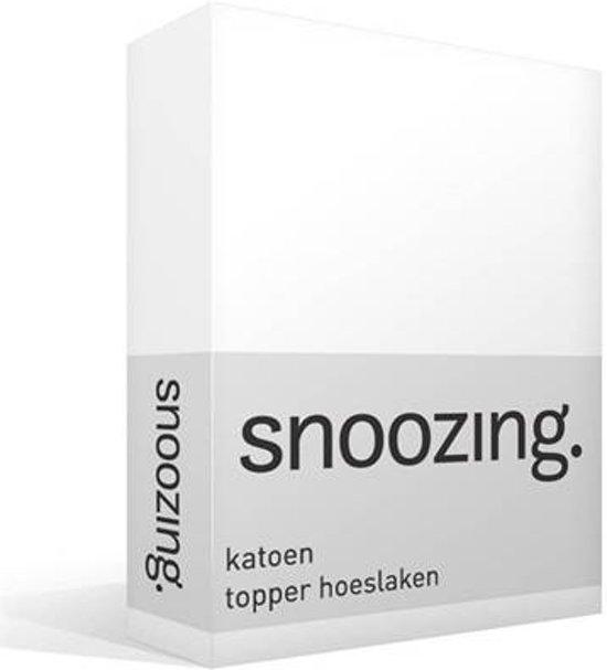 Snoozing - Katoen - Topper - Hoeslaken - Eenpersoons - 90x200 cm - Wit