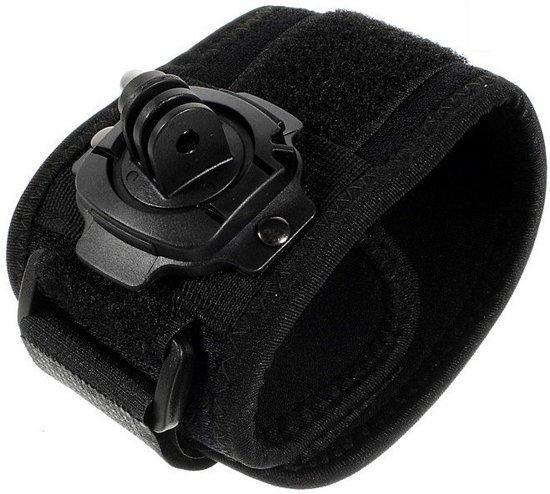 Shop4 - Actioncam Polsband - met Roterende Cam-aansluiting Zwart - incl. opbergzakje