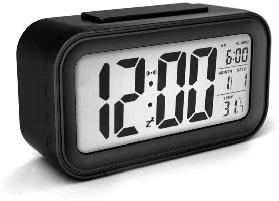 JAP digitale wekker | Alarmklok | Inclusief temperatuurmeter | Met snooze en verlichtingsfunctie | Zwart