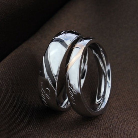 Ring met hart man 21.5mm zwart (Maat 12)