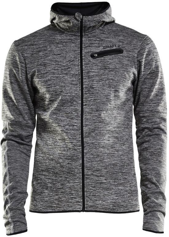 Craft Eaze Jersey Hood Jkt M Sportjas Heren - Black Melange