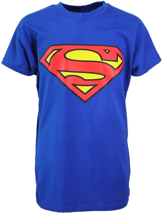 Superman Logo T-Shirt Kinderen Blauw Licht / Donker Kleurig, Maat: 152