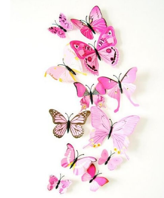 Roze Muurdecoratie Kinderkamer.Top Honderd 3d Vlinders Muurstickers Blauw Vlinder Muursticker