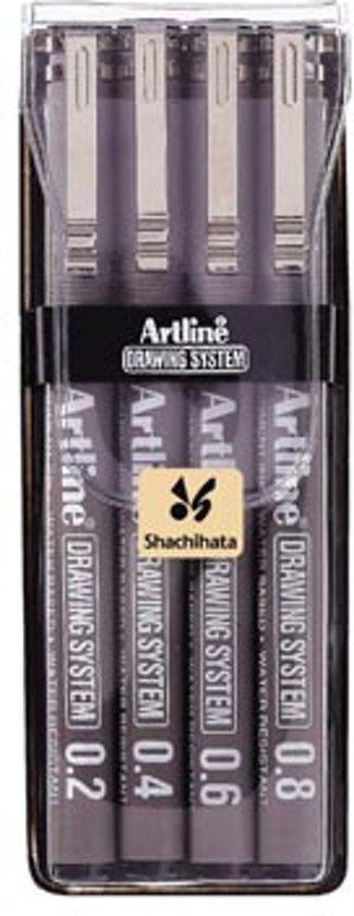 Tekenpen Artline Technische T 0,2/0,4/0,6 ,0,8mm