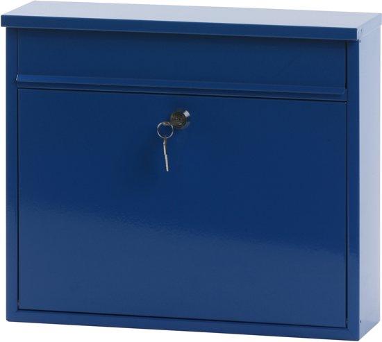 Stalen brievenbus blauw - 11x36x31,5 cm