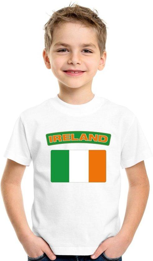 Ierland t-shirt met Ierse vlag wit kinderen XS (110-116)