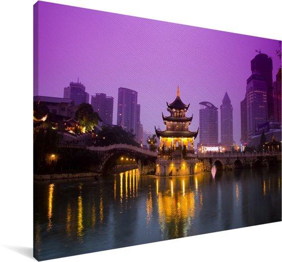 De oude militaire stad verlicht in China Canvas 60x40 cm - Foto print op Canvas schilderij (Wanddecoratie woonkamer / slaapkamer)