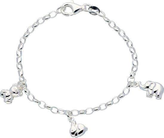 Lilly bedelarmband - zilver - ovale jasseron - beer - konijn - olifant - 16 cm