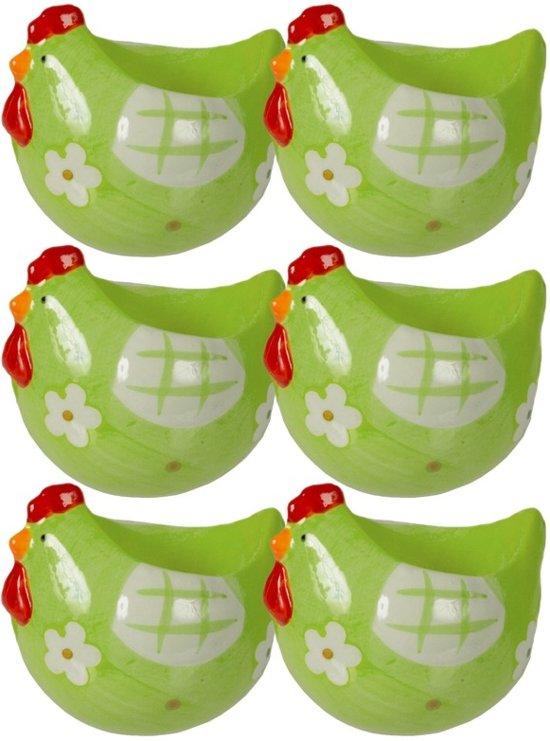 6x Groen eierdoppen met kip 8cm van keramiek