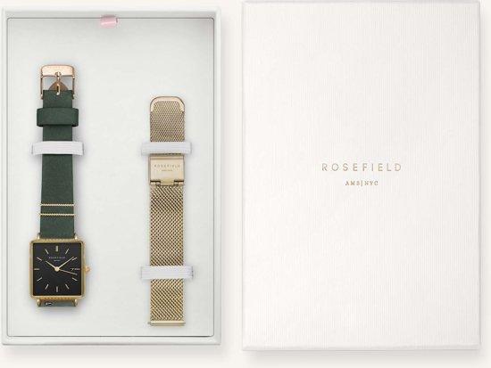 Rosefield The Boxy Gift Set Dames Horloge - Goud Groen + Ømm - BFGMG-X237