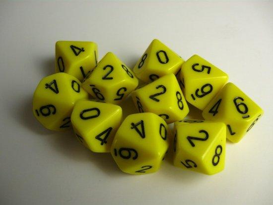 Afbeelding van het spel 10 Vlakken Tienzijdige Dobbelstenen Geel met Zwart 16mm Set van 6 Stuks