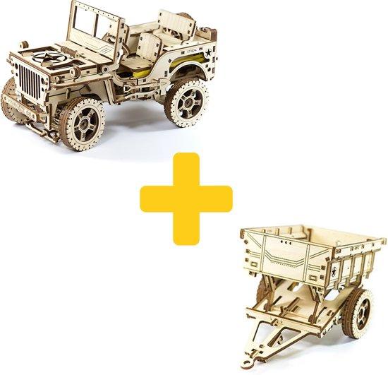 Wooden City modelbouw hout voordeelpakket Jeep en trailer