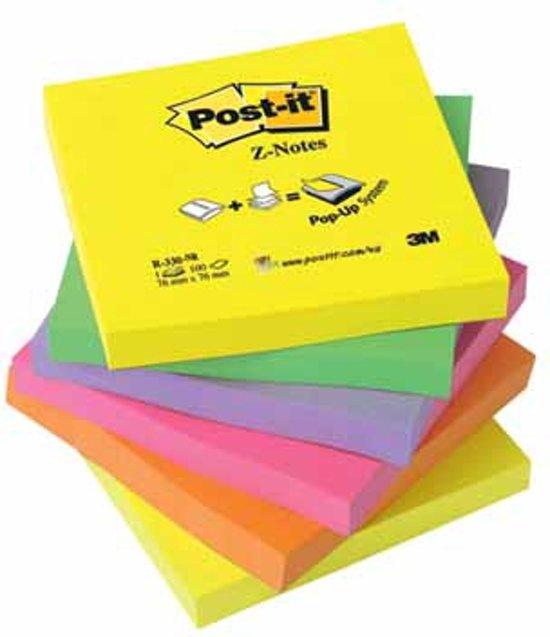 Post-it® Z-Notes, Navullingen, Geel (2), Groen (1), Paars (1), Roze (1), Oranje (1), 76 x 76 mm, 6 Blokken, Individueel Verpakt, 100 Blaadjes/Blok