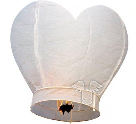 Wensballon wit hart 100 cm  - Valentijn / Bruiloft wensballonnen