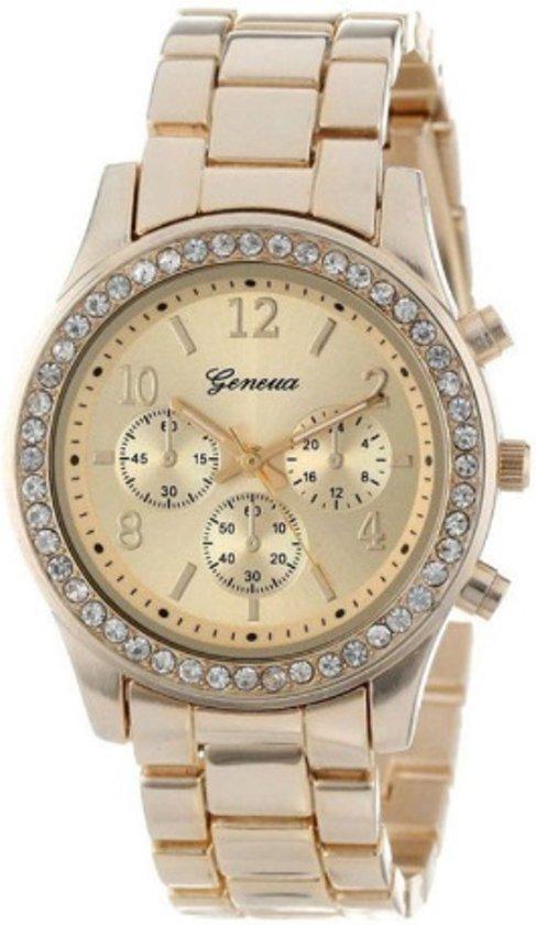 Geneva dames horloge crystal kleur goud I-deLuxe verpakking