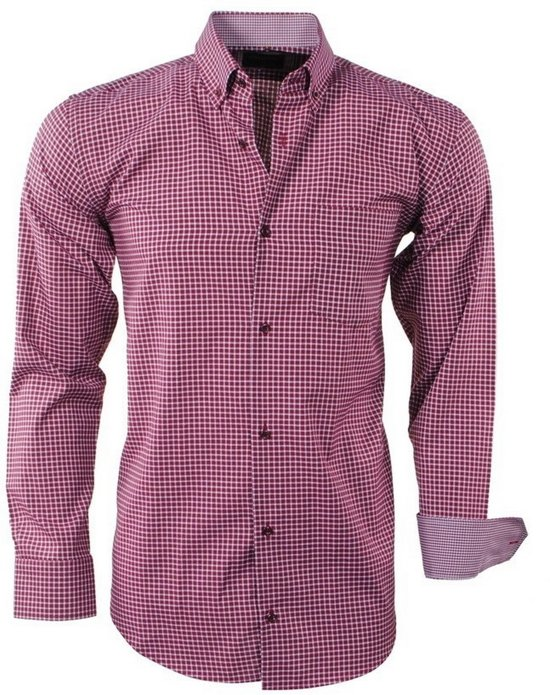Bordeaux Overhemd.Enrico Overhemd Borstzak Heren Rood Geblokt Bordeaux Polo Hf8qrxwaho