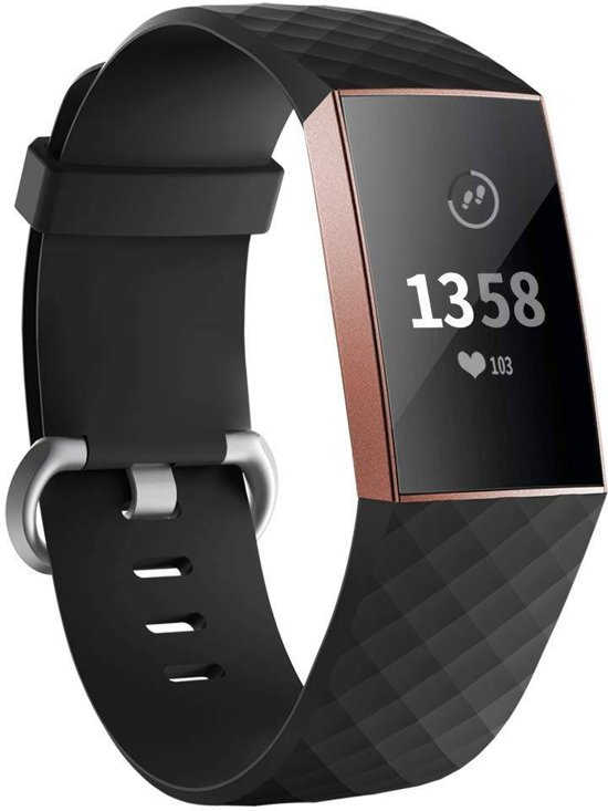 123Watches.nl Fitbit charge 3 sport wafel band - zwart - ML