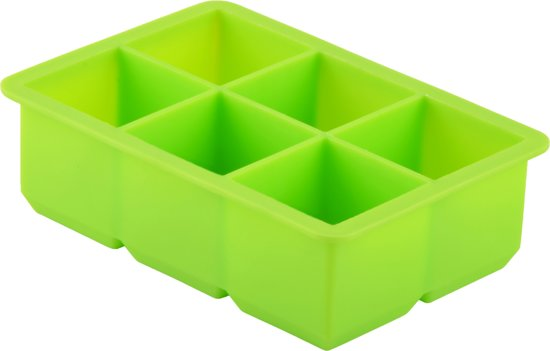 Dotz ijsblokjesvorm - Siliconen - Kubus - Groen - 6 ijsblokjes