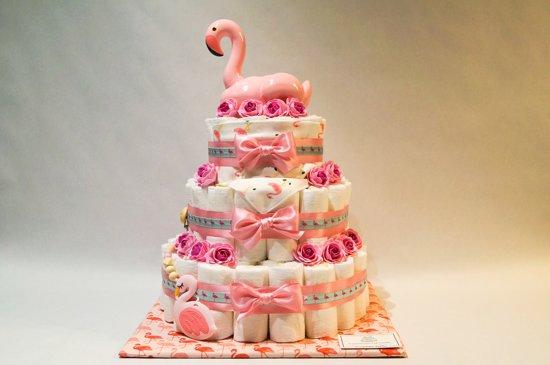 Luiertaart - Pampertaart Meisje Flamingo XL - 97 Pampers - Roze