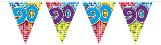 90 Jaar Mini Vlaggenlijn Birthday Blocks - 3 meter