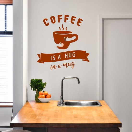Muursticker Coffee Is A Hug In A Mug -  Bruin -  58 x 60 cm  - Muursticker4Sale