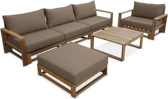 bol | houten loungeset 5 plaatsen - mendoza - taupe kussens
