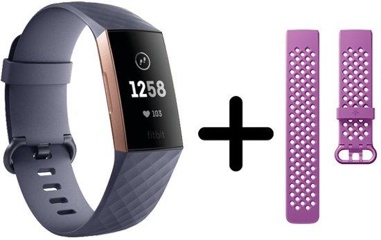 Fitbit Charge 3 - Activity tracker - Blauw grijs maat (s) + Roze bandje
