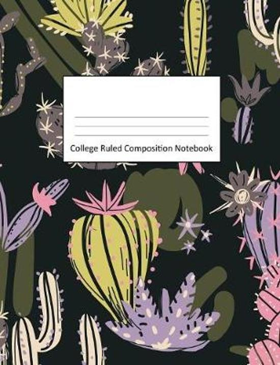 College Ruled Composition Notebook: Purple Cactus on Black Design Cover - Blank Lined Interior