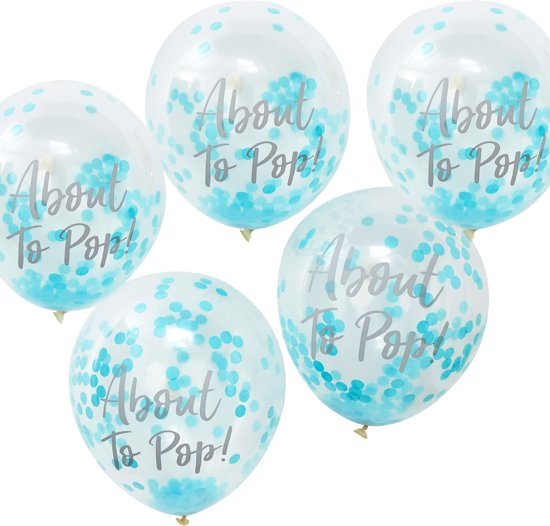 Ginger Ray Oh Baby! 'About To Pop' Ballon gevuld met blauwe confetti Ø 28 cm - Set-5 Valentinaa