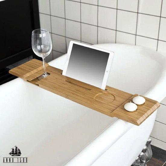 Decopatent Bamboe badrekje voor Over Bad 70 cm lang Badplank//badbrug geschikt voor telefoon Basic Bad tafeltje Van hout