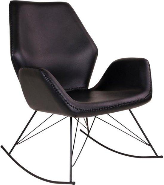 Norrut Nynne schommelstoel kunstleder zwart met zwart metalen onderstel