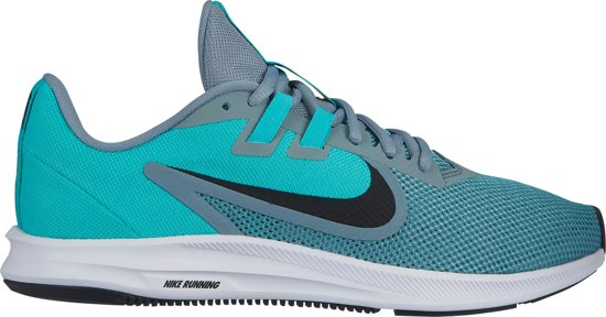Nike Downshifter 9 Sportschoenen Dames - Aviator Grey/Black-Hyper Jade-White-Amarillo