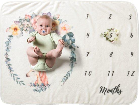 Mijlpaal Deken - Rozenkrans - Kraamcadeau - Babyshower cadeau - Foto deken - Babyshower idee - Kraamkado jongen - meisje -Kraamfeest